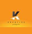 k letter modern logo design with yellow vector image vector image