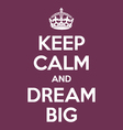 keep calm and dream big poster quote vector image vector image