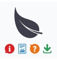 Leaf sign icon Fresh product symbol vector image vector image
