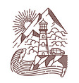 lighthouse view line hand drawn vector image