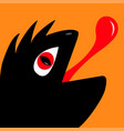 monster reptile head silhouette with red devil eye vector image vector image