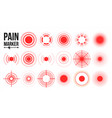 pain icon red rings pain circle isolated vector image