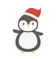 penguin with hat celebration merry christmas vector image vector image
