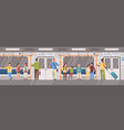 people or city dwellers in metro subway tube or vector image vector image