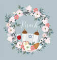 pesach passover greeting card hand drawn floral vector image vector image