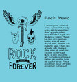 rock music forever poster with guitar vector image vector image