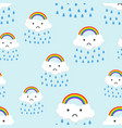 sad rainbow emotion with clouds seamless pattern vector image vector image
