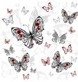 seamless pattern gray butterflies vector image