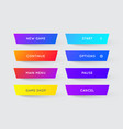 set modern gradient app or game buttons trendy vector image vector image
