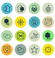 set of 16 ecology icons includes sea star cloud vector image vector image