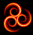 three an abstract red swirls on black vector image vector image