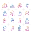 Trend winter clothes isolated gradient icon vector image