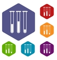 Tubes rhombus icons vector image vector image