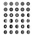 tyres glyph icons set vector image
