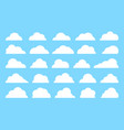 white cute flat cloud shapes set isolated on blue vector image