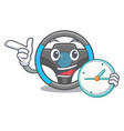 with clock steering wheel in the character shape vector image vector image