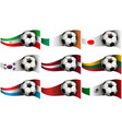 with soccer ball and flag of iran ireland japan vector image