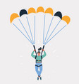 woman with parachute on white vector image vector image