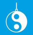 yin yang symbol icon white vector image vector image