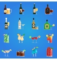 Cocktail Icons Flat Set vector image