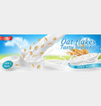 3d realistic oat flakes package design vector image
