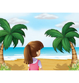A young lady watching the calm blue sea vector image