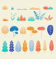 autumn leaves and plants flat design set vector image vector image