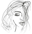 beautful woman sketch with messy hair vector image vector image
