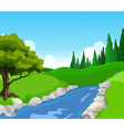 beauty lake with landscape background vector image