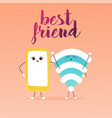 best friends cute cartoon phone and wifi vector image vector image