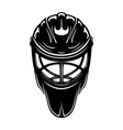 black sign hockey goalkeeper helmet vector image