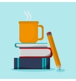 Books mug and pencil design vector image vector image