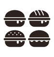 burger icon set vector image vector image