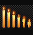 burning candle burn church candles wax fire and vector image vector image