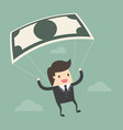 businessman using bank note as a parachute vector image vector image