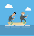 businessmen are working in a team in the same boat vector image vector image