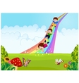Cartoon little kids playing slide rainbow in the j vector image vector image