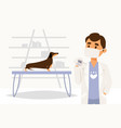 character doctor physician veterinarian measure vector image