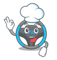 chef steering wheel in the character shape vector image vector image