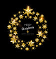 christmas and new year gold star holiday wreath vector image vector image