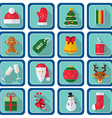 Christmas icons flat style Square buttons with New vector image
