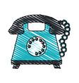 color crayon stripe cartoon retro telephone with vector image