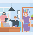 coworking business man woman office desk space vector image