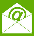 envelope with email sign icon green vector image vector image