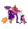 family travels together isolated objects on white vector image vector image