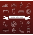 fast food outline icons vector image vector image