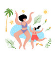 fun mother and daughter at sea flat cartoon vector image