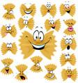 funny farfalle pasta cartoon character with many f vector image vector image