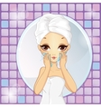 Girl Washes His Face vector image