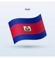 Haiti flag waving form vector image vector image